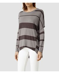 AllSaints | Black Wave Stripe Top | Lyst