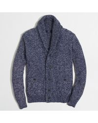 J.Crew - Blue Factory Marled Cotton Cardigan Sweater for Men - Lyst