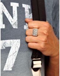 ASOS | Metallic Signet Ring with Swallow Engraving for Men | Lyst