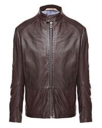 BOSS Orange | Brown Sheepskin Leather Jacket 'jelon' for Men | Lyst