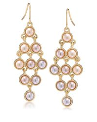 Carolee | Metallic Peach Blossom Goldtone And Faux Pearl Chandelier Earrings | Lyst