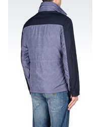 Armani Jeans - Blue Full Zip Pea Coat In Denim Effect for Men - Lyst