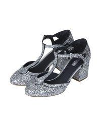 TOPSHOP - Metallic Womens Joyful Glitter Tbar Heels Silver - Lyst