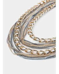 Violeta by Mango - Metallic Multiple Chain Necklace - Lyst