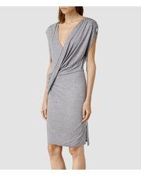 AllSaints - Gray Helix Li Dress - Lyst