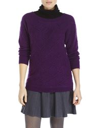 Qi | Purple Diamond Knit Sweater | Lyst