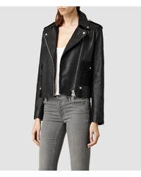 AllSaints - Black Drew Biker Jacket - Lyst
