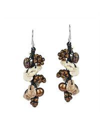 Aeravida | Metallic Green Serenade Turquoise-pearl Seeds Bead Silver Earrings | Lyst