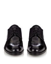 Alexander McQueen - Black Leather And Suede Derby Shoes for Men - Lyst