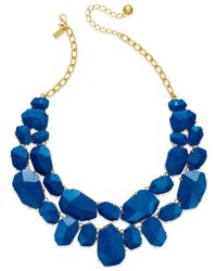 kate spade new york | Blue 12k Gold-plated Faceted Stone Two-row Necklace | Lyst