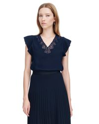 Rebecca Taylor - Blue Sleeveless Crepe Lace Top - Lyst