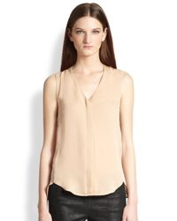 Theory - Natural Pala Sleeveless Buttonfront Blouse - Lyst