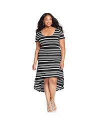 Jessica Simpson - Black Plus Size Shortsleeve Striped Highlow Dress - Lyst