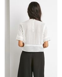 Forever 21 - White Striped Mesh Boxy Top - Lyst