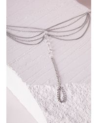 Missguided   Metallic Bead Detail Layered Foot Chain Silver   Lyst