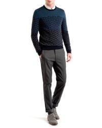 Ted Baker - Blue Zano Ombre Pattern Wool Jumper for Men - Lyst