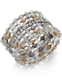 INC International Concepts | Metallic Silver-tone Bead And Crystal Coil Bracelet | Lyst