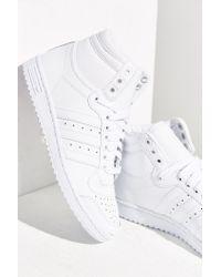 Adidas - White Top Ten Hi Sneaker - Lyst