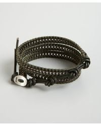 Chan Luu - Green Olive and Silver Chain and Leather Wrap Bracelet for Men - Lyst