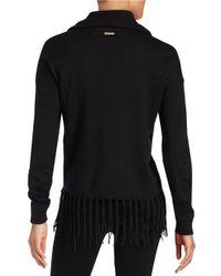 MICHAEL Michael Kors | Black Petite Fringed Cowlneck Sweater | Lyst