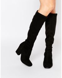 Faith | Maserati Black Pull On Knee Heeled Boots | Lyst