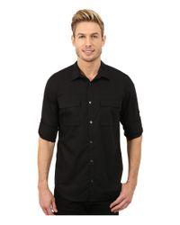 Calvin Klein | Black Poplin Roll-sleeve Woven Shirt for Men | Lyst
