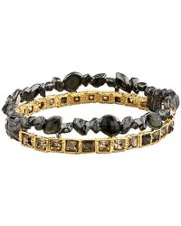 Alexis Bittar | Black Stacked Rocky Hinge Rose Cut W/ Pyrite Bracelet | Lyst