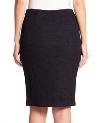 St. John - Black Shimmer Knit Sequin-trim Skirt - Lyst