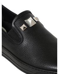 Bi_plus - Black Studded Leather Slip-on Sneakers for Men - Lyst