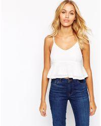 Fashion Union | White Cami Crop Top With Peplum Hem | Lyst