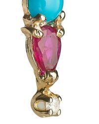 Loren Stewart | Blue Turquoise Ruby Diamond Slide Earring | Lyst