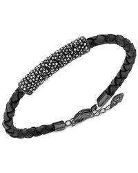 Swarovski | Black Stone Crystal & Leather Braided Bracelet | Lyst