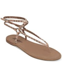 Lucky Brand | Natural Women's Adivita Ankle Strap Flat Thong Sandals | Lyst