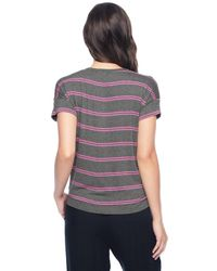 Splendid - Pink Canvas Stripe Tie Front Tee - Lyst