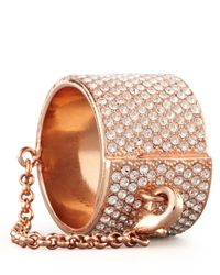 Eddie Borgo - Metallic Pave Crystal Ring with Safety Chain - Lyst