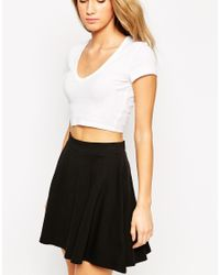 ASOS - White Crop Top In Rib With Short Sleeves And V Neck - Lyst