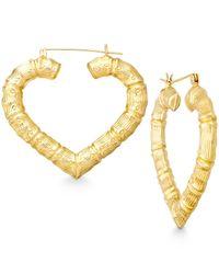 Macy's - Metallic Bamboo Heart Hoop Earrings In 10k Gold - Lyst