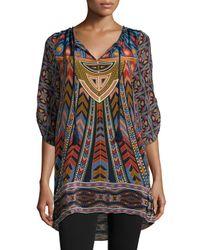 Tolani - Multicolor Nima Silk Printed Long Tunic - Lyst