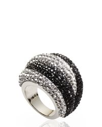 Swarovski | Metallic Silver-Tone & Black Accented Ring Size 8 | Lyst