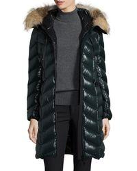 Moncler - Black Bellette Fur-trim Puffer Coat - Lyst