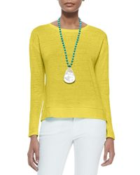 Eileen Fisher - Yellow Linen Jersey Box Top - Lyst