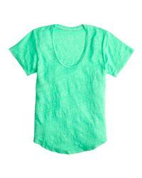 J.Crew | Green Linen Scoopneck T-shirt | Lyst