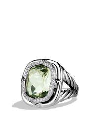 David Yurman - Metallic Labyrinth Ring With Prasiolite And Diamonds - Lyst