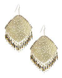 Nakamol - Metallic Cutout Rhombus Fringe Beaded Earrings - Lyst