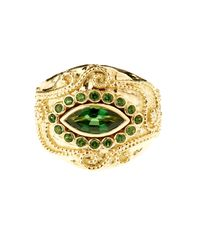 Aurelie Bidermann | Metallic Cashmere Tourmaline And Diamonds Yellow-gold Ring | Lyst