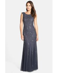 Adrianna Papell | Gray Beaded Mermaid Gown | Lyst