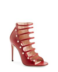 Gucci - Red Aneta Caged Sandals - Lyst