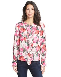 Ellen Tracy | Pink Ruffle Placket Blouse | Lyst