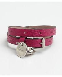 Alexander McQueen - Pink Fuchsia Leather Double Wrap Skull Bracelet - Lyst