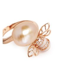 Anabela Chan - Metallic 'bumble Bee Ring' Pearl Diamond 18k Rose Gold Ring - Lyst